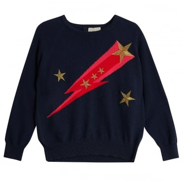 Flash Star Mini Crew in Navy