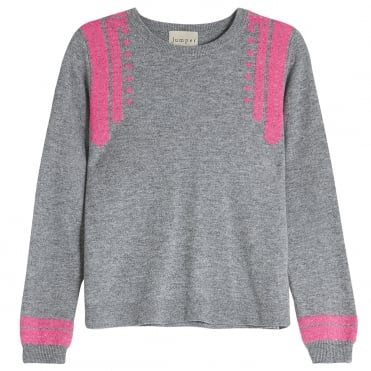 Folk Crew Cashmere Knit in Mid Grey/Neon Pink