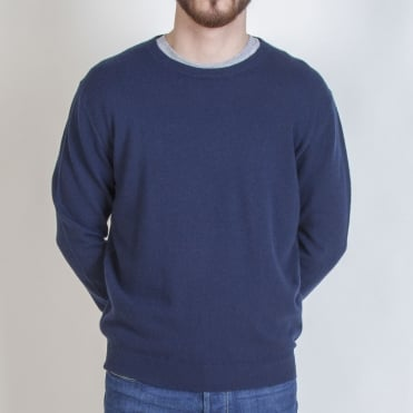 Mens Internal Tipped Crew in Navy/Mid Grey
