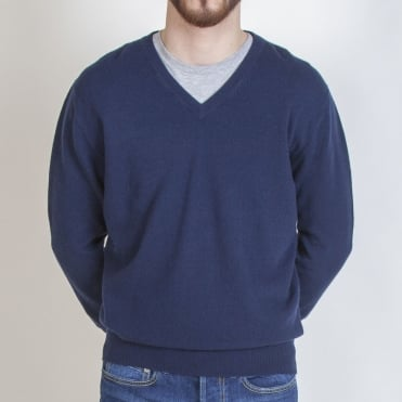 Mens Internal Tipped V Neck in Navy/Mid Grey