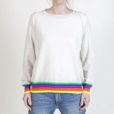 Mexican Wave Cashmere Sweater in Off White