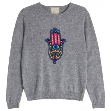 Multi Hamsa Hand Cashmere Knit in Mid Grey