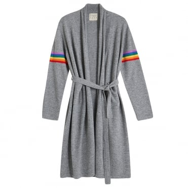 Rainbow Cashmere Dressing Gown in Grey