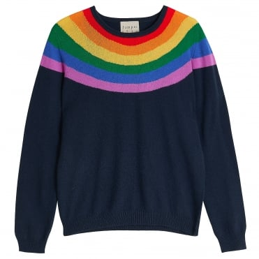 Rainbow Yoke Cashmere Crew in Navy