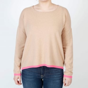 Tipped Crew Neck in Camel/Neon Pink