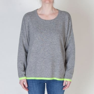 Tipped Crew Neck in Mid Grey/Neon Yellow