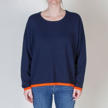 Tipped Crew Neck in Navy/Tiger