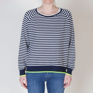 Tipped Narrow Stripe Boyfriend Sweat in Navy/Cream/Neon Yellow