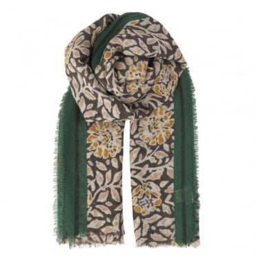 Laleh Wool and Cashmere Floral Print Scarf