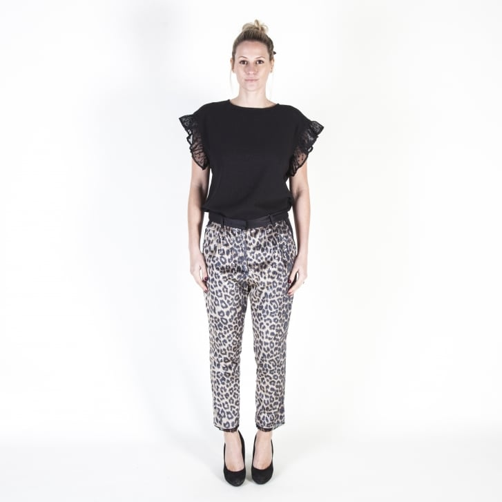 LAURENCE DOLIGE Leopard Print Sequin Trousers