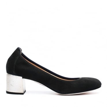 Leather Low Block Heel