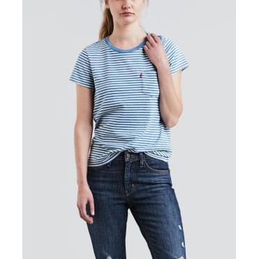 Perfect Pocket Stripe Short Sleeved T-Shirt in Blue