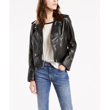 Relaxed Moto Leather Biker Jacket in Black