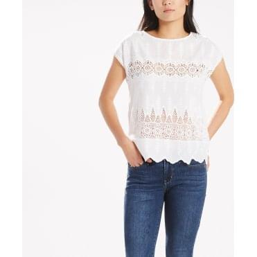 Sam Broderie Anglaise Top in White