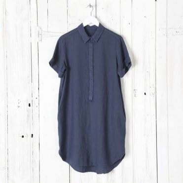 Linen Shirt Dress with Pockets