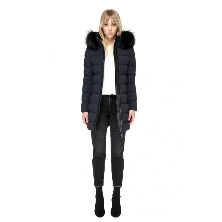 MACKAGE Calla with Black Fur in Navy