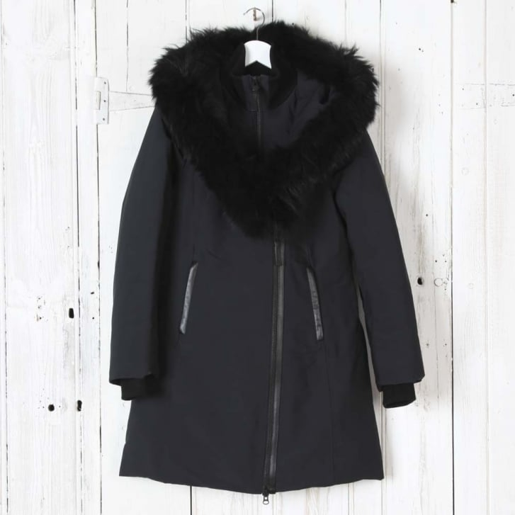 MACKAGE Kay-P Powder Fabric with Black Fur in Black