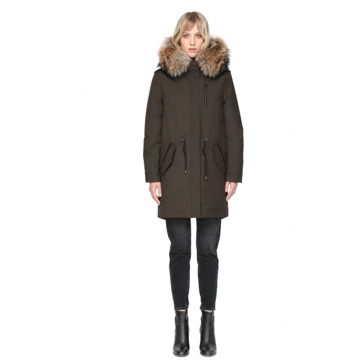 MACKAGE Rena with Natural Fur in Army