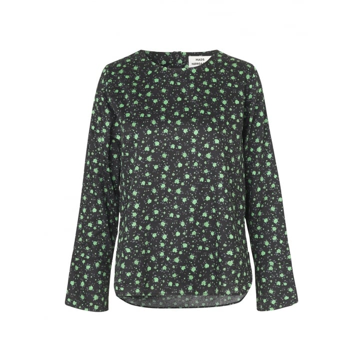 MADS NORGAARD Boutique Print Blouse in Black/Green