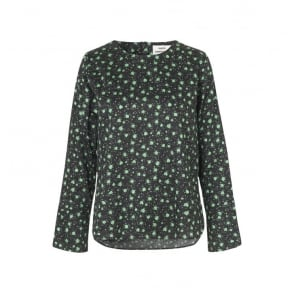 Boutique Print Blouse in Black/Green