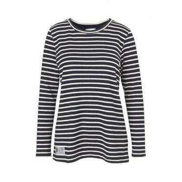 Bretagne Tinny Stripe L/S Top in Navy/Ecru