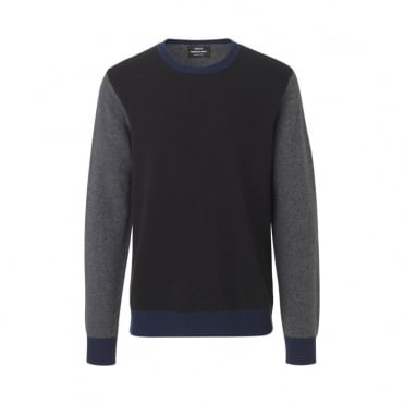 Firenze Kenny Contrast Sleeve Sweater in Black/ Charcoal