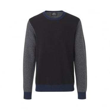 Firenze Kenny Contrast Sleeve Sweater in Black/ Charcoal