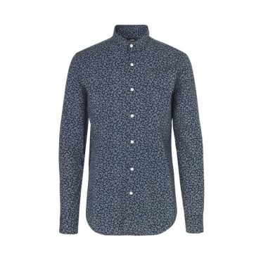Floral Vikdal Selik Shirt in Navy