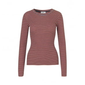 L/S Stripe Soft Play Tuba Top in Red/Orange/White