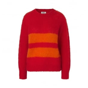 Mohair Boutique Jumper in Bright Red/Orange