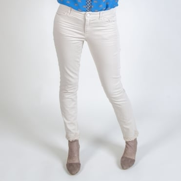 Lace Detail Trim Jeans in Stone