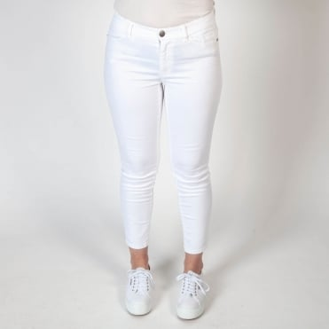 Skinny Back Zip Jean in White