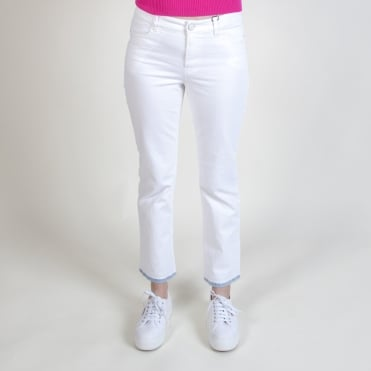 White Jeans with Denim Trim Bottom