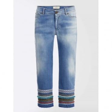Fine Denim Pant with Trim