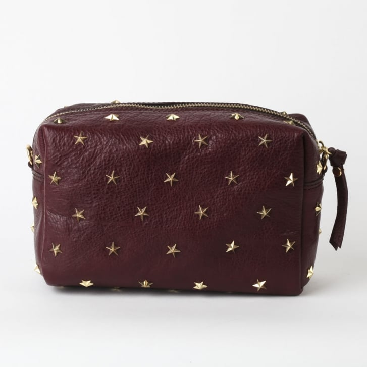MERCULES Dixie Studded Crossbody Bag in Burgundy