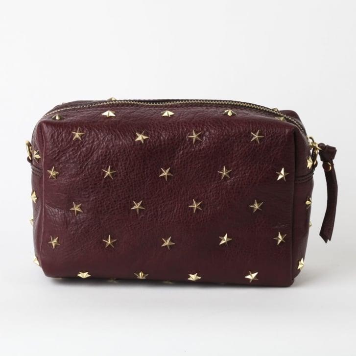 MERCULES Dixie Studded Crossbody Bag in Burgundy