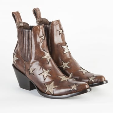 Star Cowboy pull - on Boot in Oryx/Gold