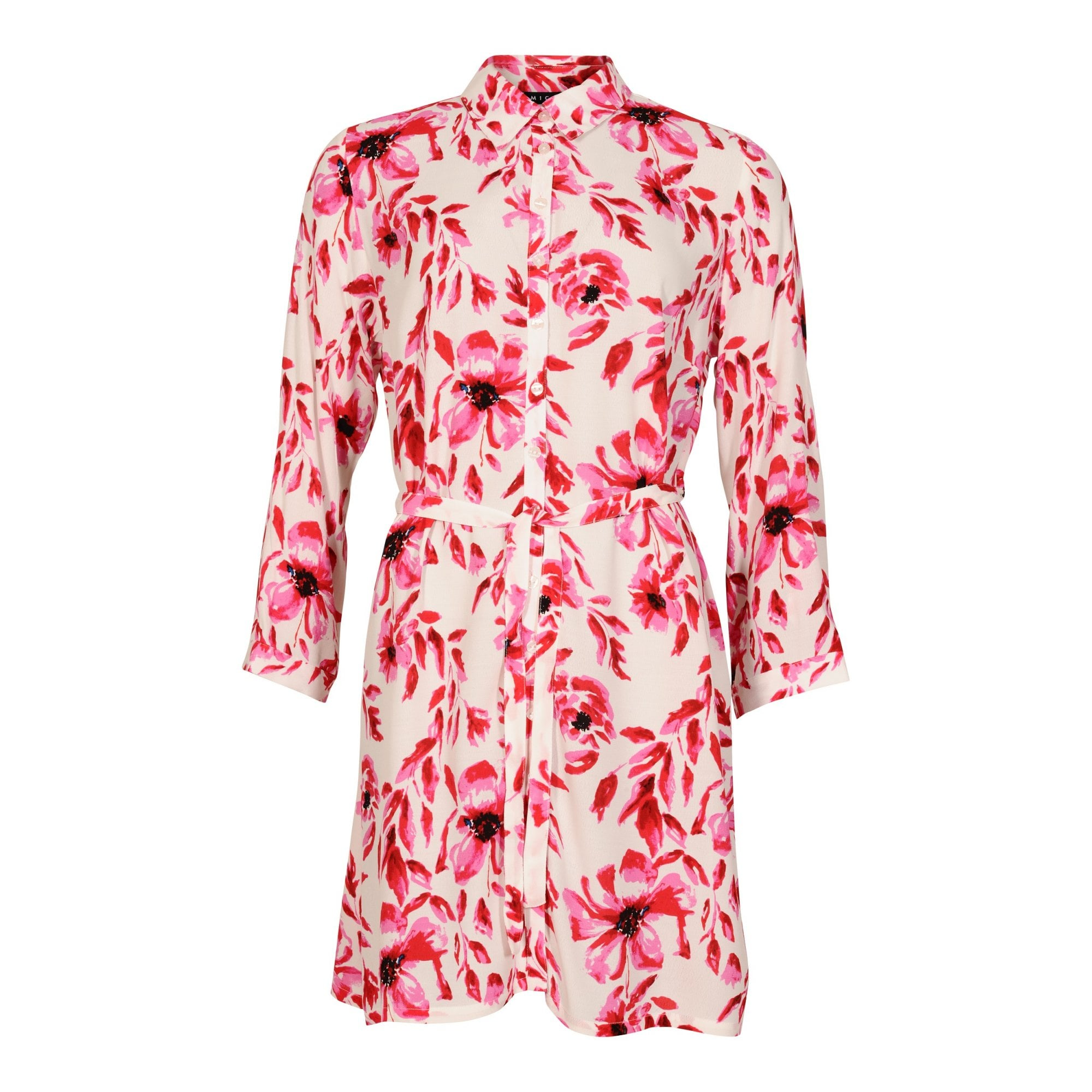 1caae68fc1d584 Micha Oriental Lily Print Shirt Dress In Pink | Collen & Clare