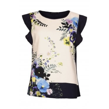 0148389a052f92 Pansy Print Top in Navy