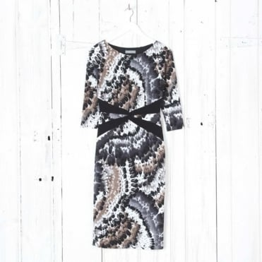 Feather Print Knot Waist Pencil Dress