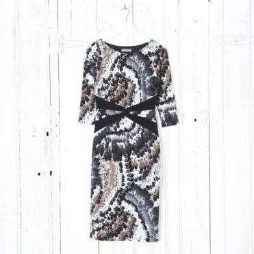 Feather Print Knot Waist Pencil Dress