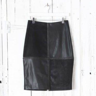 Plaited Leather Pencil Skirt