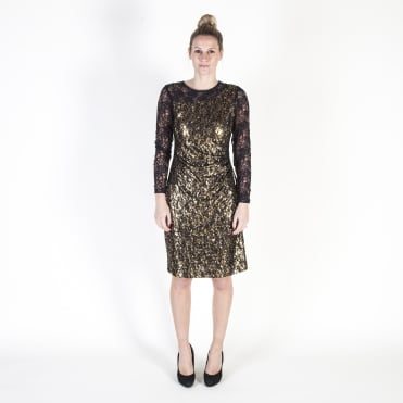 Sequin and Lace Embroidered Cocktail Dress