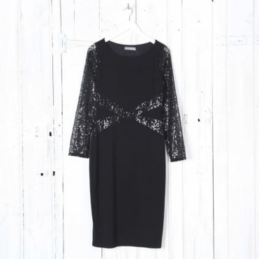Sequin Embellished Sheer Sleeve Pencil Dress
