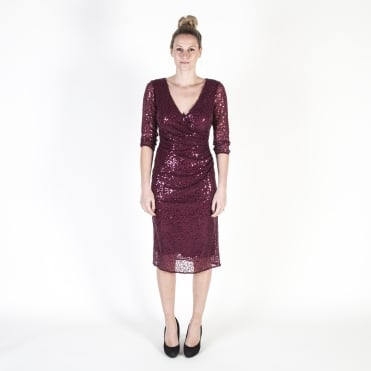Sequin Embellished Sheer Wrap Dress