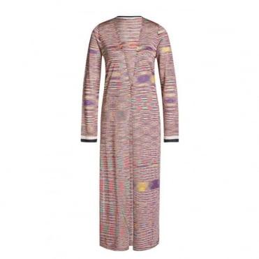 Mid-Length Open Stripe Knit Cardigan
