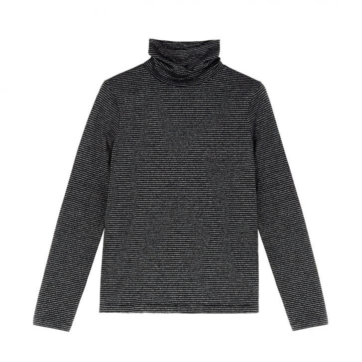 M.I.H JEANS Range Polo Neck Top in Black/Silver