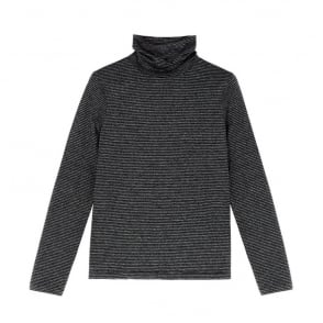 Range Polo Neck Top in Black/Silver