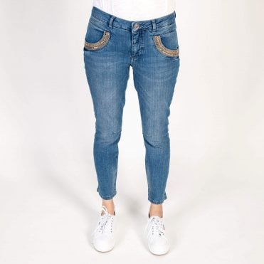 Naomi Shine Cotton Jean in Navy