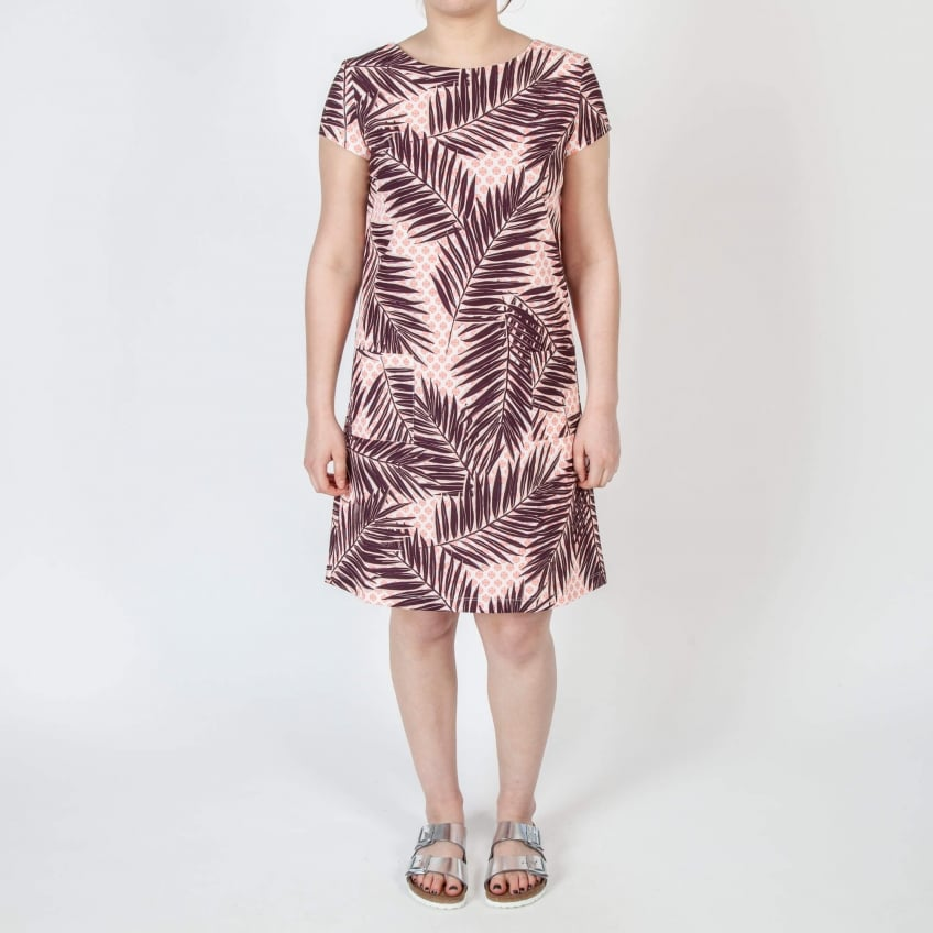 NATHALIE VLEESCHOUWER Lee Crepe Palm Print Tunic Dress with Pockets in Black